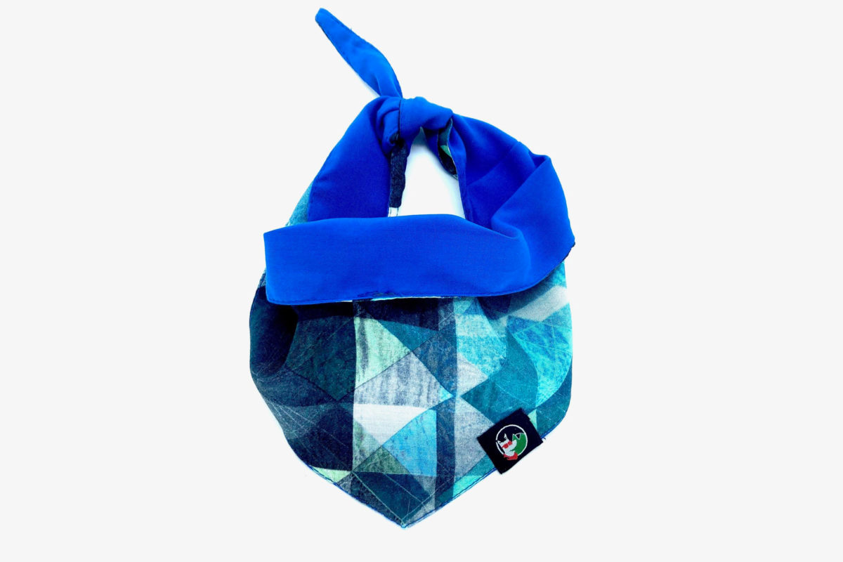 Sustainable pet bandana: CariocaPup Jazzy bandana in blue