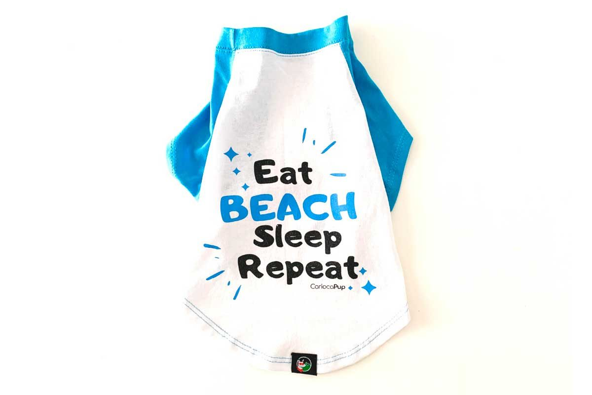 Camisetas para cães ecologica eat beach sleep repeat