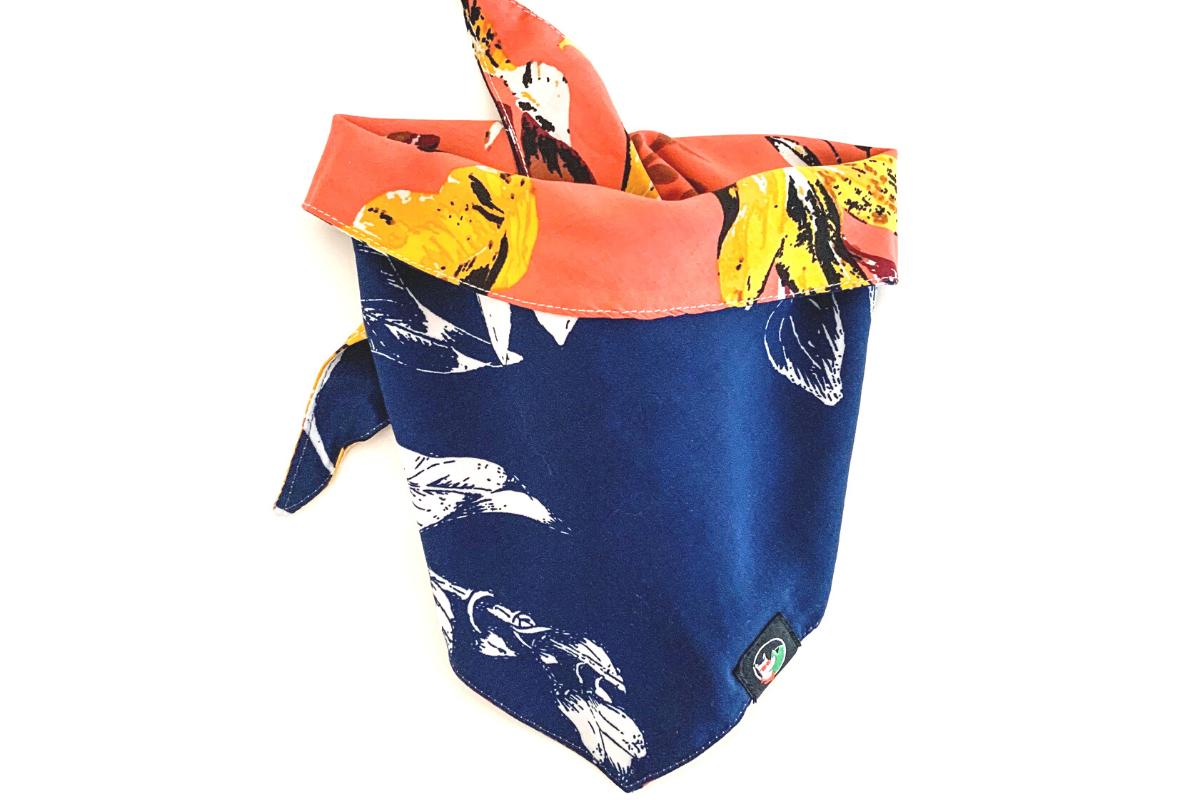 CariocaPup: bandana ecológica Folhagem Coral-Blue - Coleção Natureza